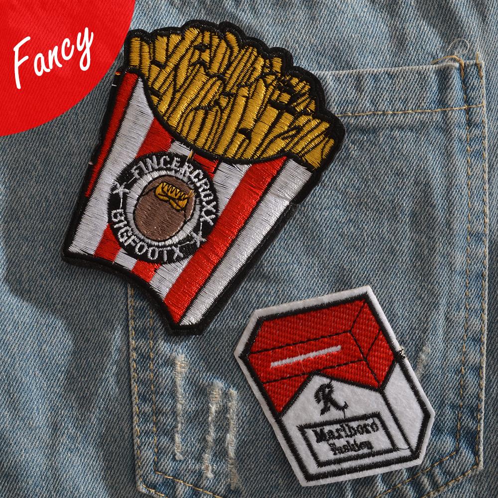 卡通牛仔裤羽绒衣服小破洞修复薯条香烟红色绣花标刺绣DIY补丁贴