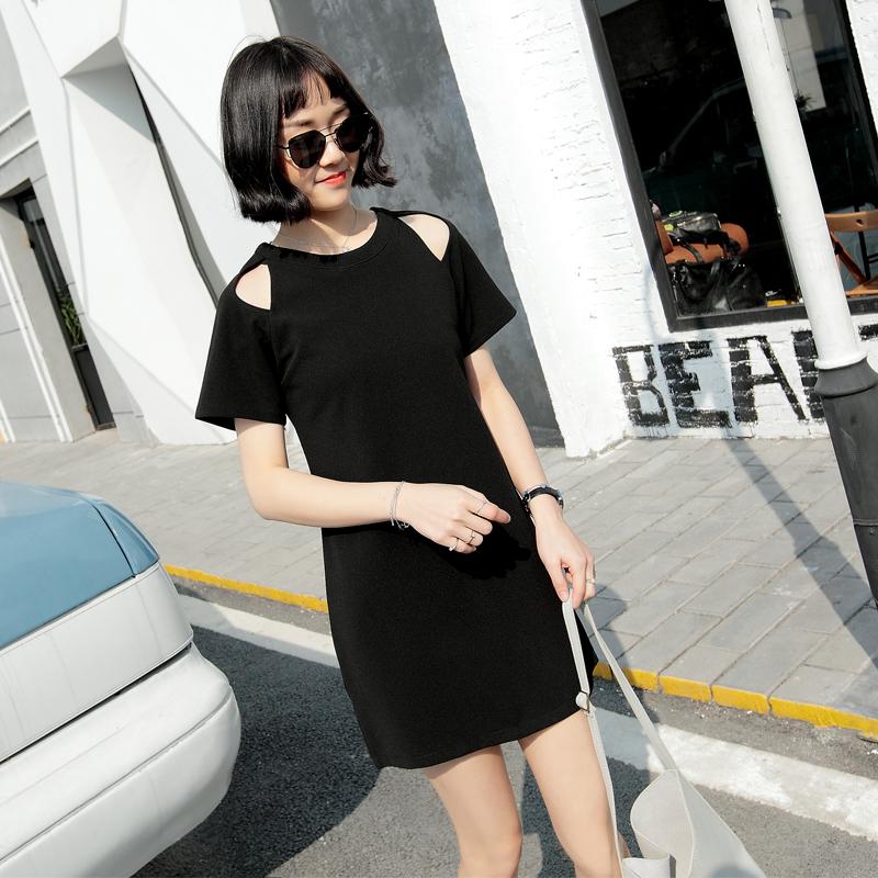 模特实拍9030#2017春夏季新款时尚气质中长款圆领短袖T恤衫女