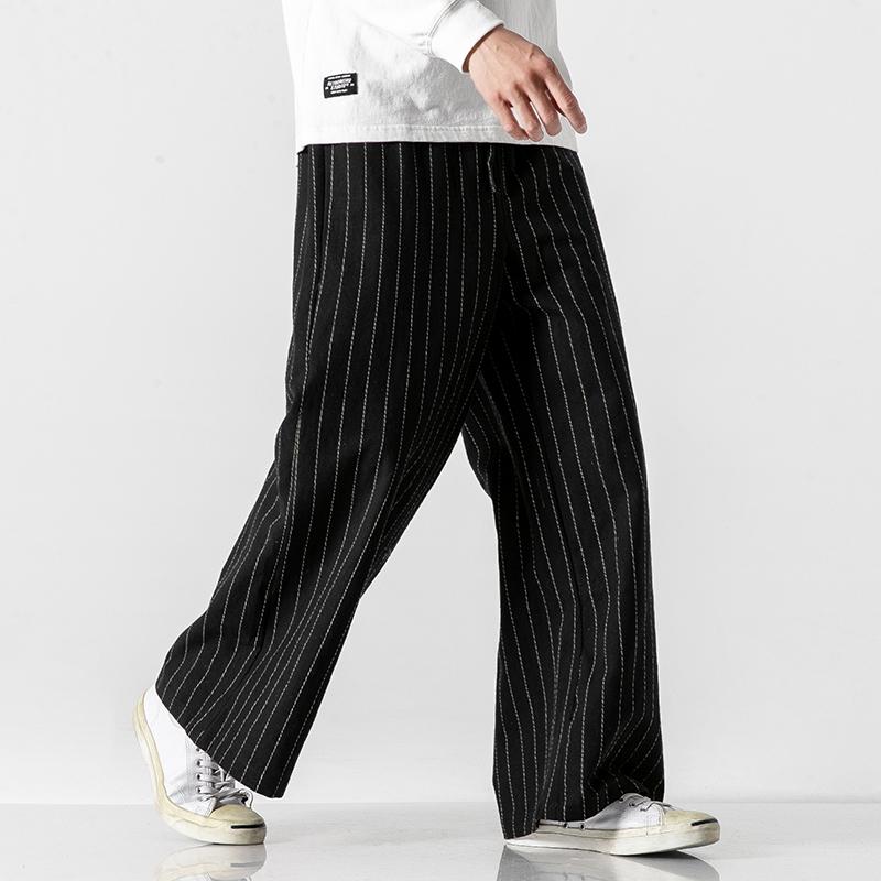 20春夏 5色日系无影墙大码抽绳直筒休闲条纹阔腿裤中国风 K80/P75