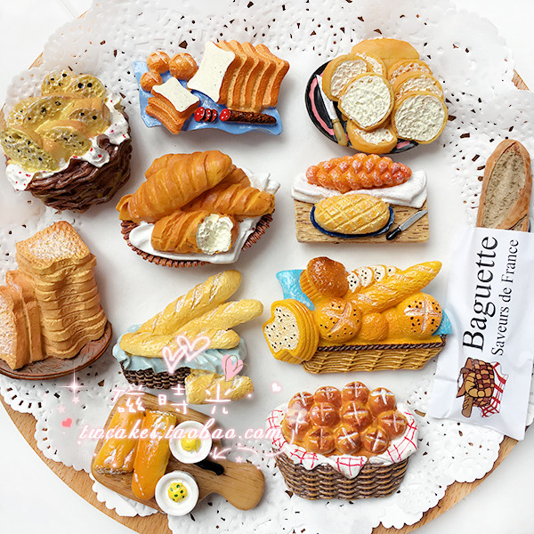 出口欧洲日本法棍切片奶油法式面包筐冰箱贴留言磁贴包邮48满