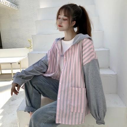 秋装新款女装2019韩版条纹拼接衬衫