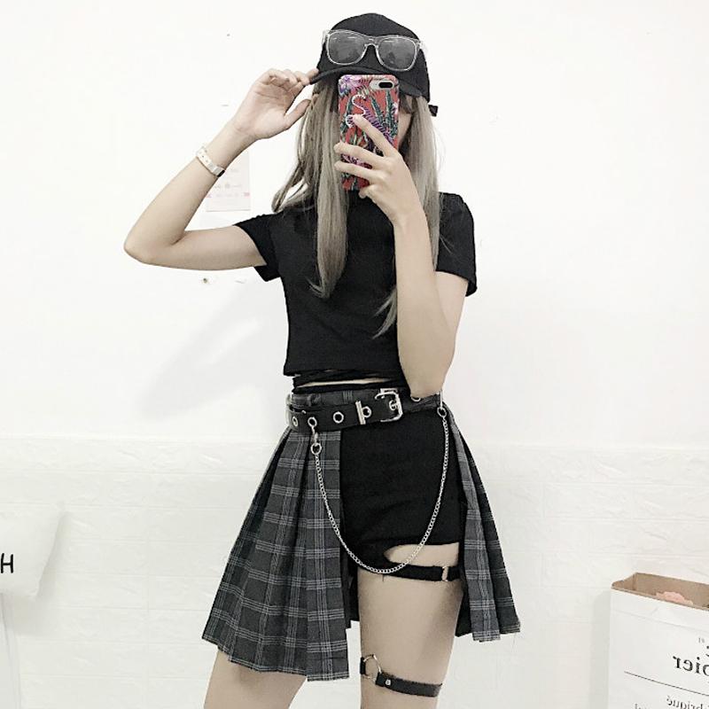 夏装新款女装韩版短袖T恤上衣防走光腿环裤+高腰格子半身裙子套装