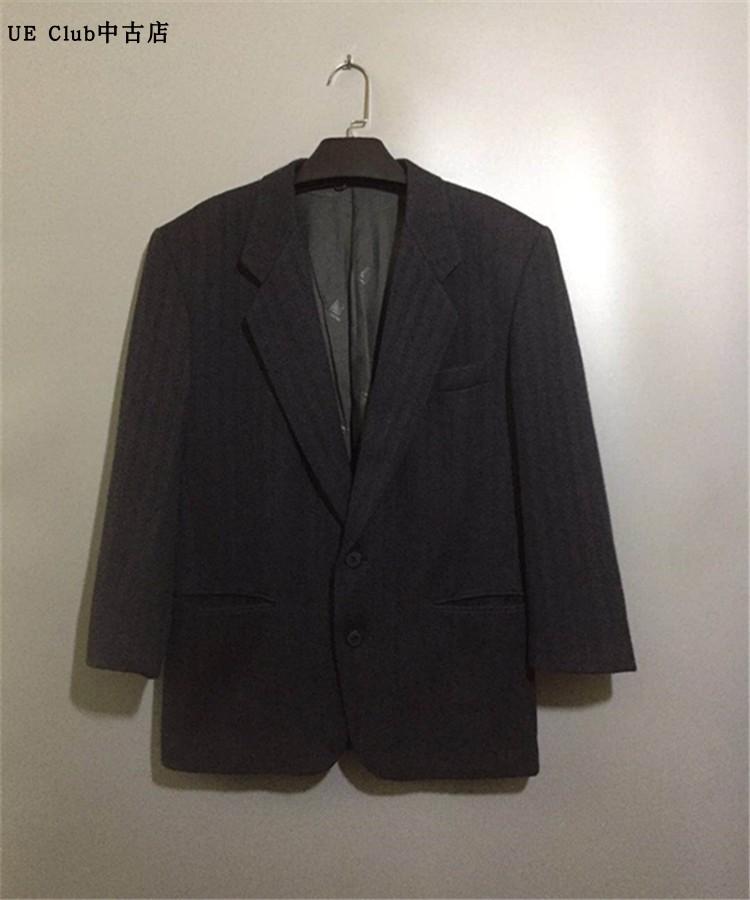 【9新】ヴィンテージフランスの高級ファッション古着LANV 1 Nダークグレーの雰囲気のウールスーツ