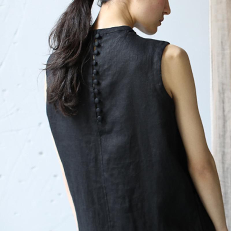 麻无色原创设计纯亚麻气质修身连衣裙棉麻盘扣长裙子女夏2020新款图片