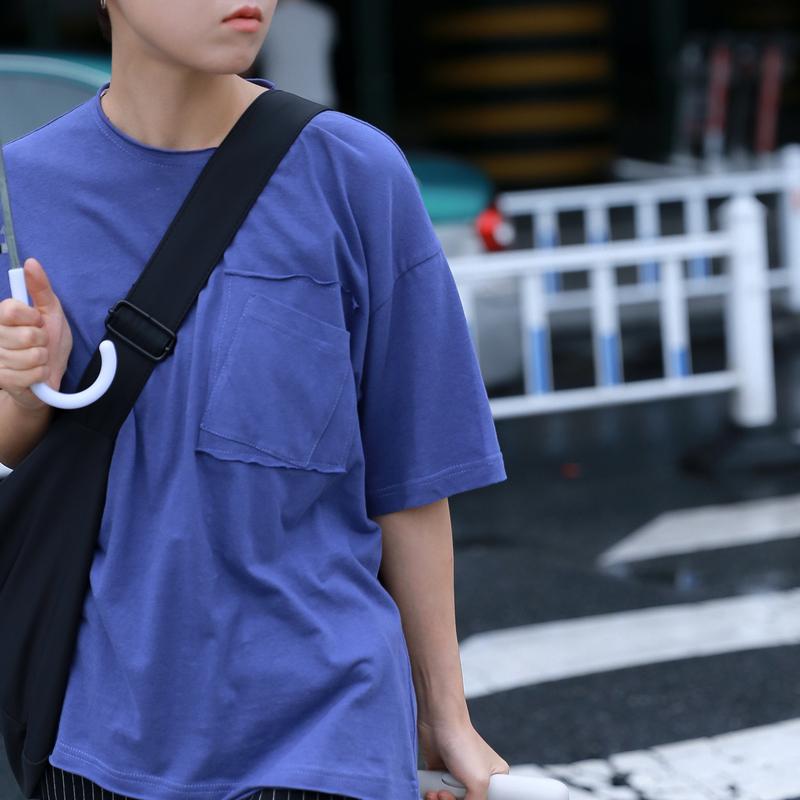 STILL YOU原创自制韩范拼接双口袋棉紫色女t恤t-shirt短袖学生