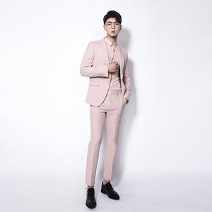 川泽男装青果领粉色西装2件套2018秋季原创时尚西服套装新郎礼服