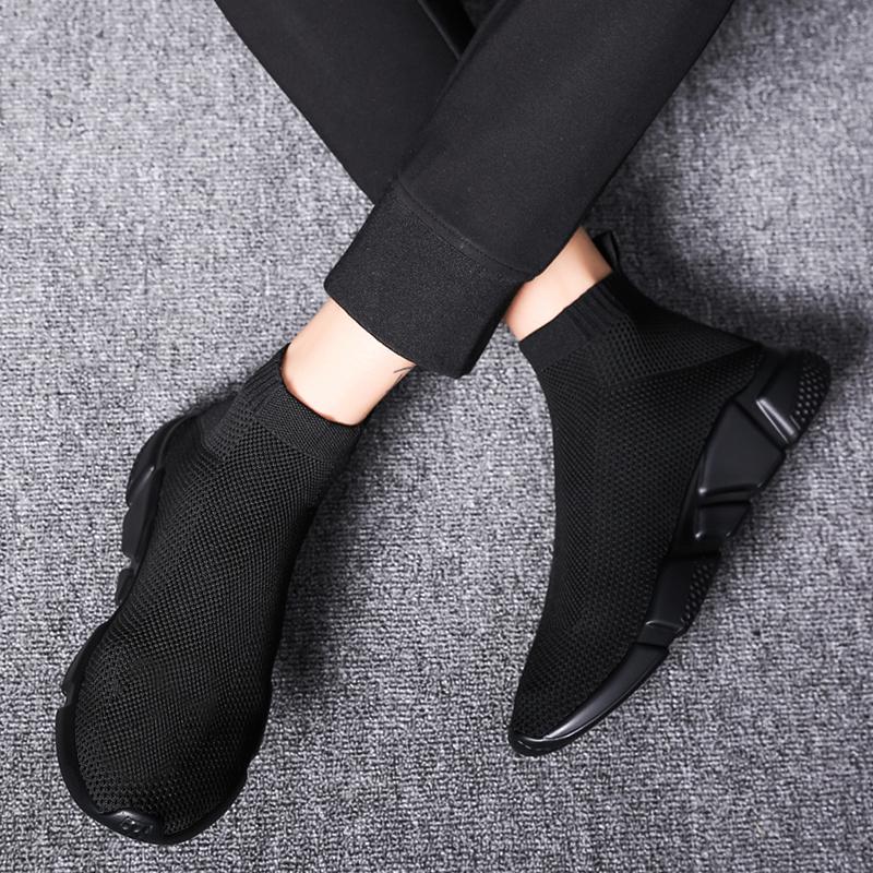 Mens shoes spring breathable shoes canvas shoes mens Korean fashion high top socks shoes sports casual shoes elastic cloth shoes mens shoes