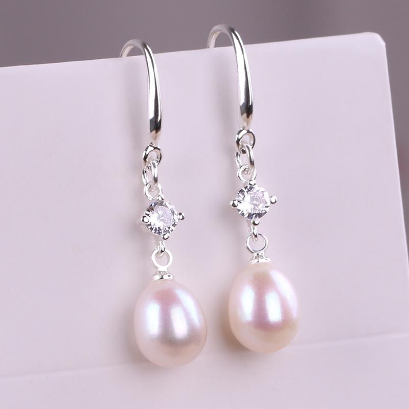天然珍珠925纯银耳环 真的淡水珍珠耳坠韩国网红妈妈款耳饰品礼物