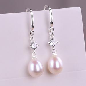 天然珍珠925纯银耳环 真的淡水珍珠耳坠韩国网红妈妈款结婚耳饰品
