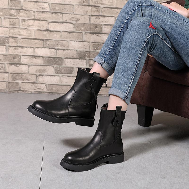 四起哥休闲手工真皮短靴女2018新款头层牛皮大码女靴子舒适女鞋潮
