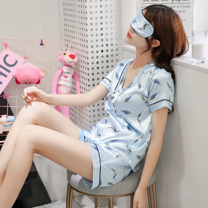 睡衣女夏季冰丝绸薄款短袖短裤家居服真丝韩版性感V领头三件套装