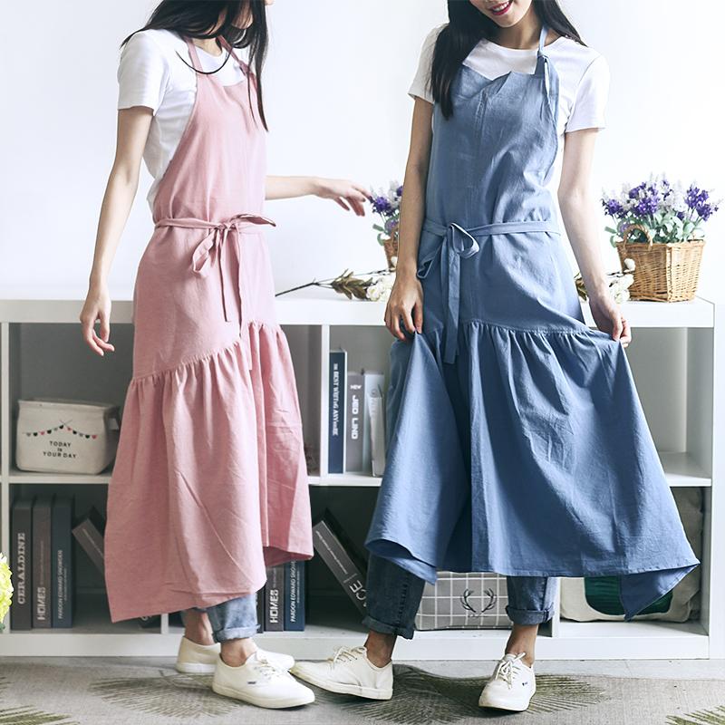日式鱼尾款修身花店围裙水洗亚麻厨房烘焙画室家居咖啡厅工作服