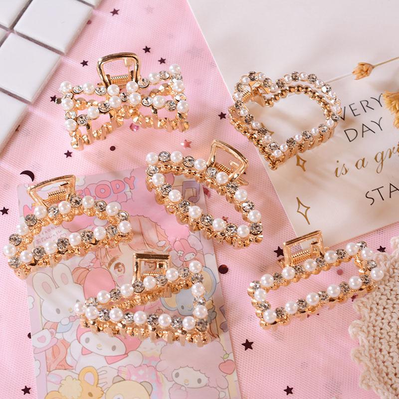 甜美珍珠合金水钻抓夹ins韩国东大门流行发夹饰品女生发抓发夹