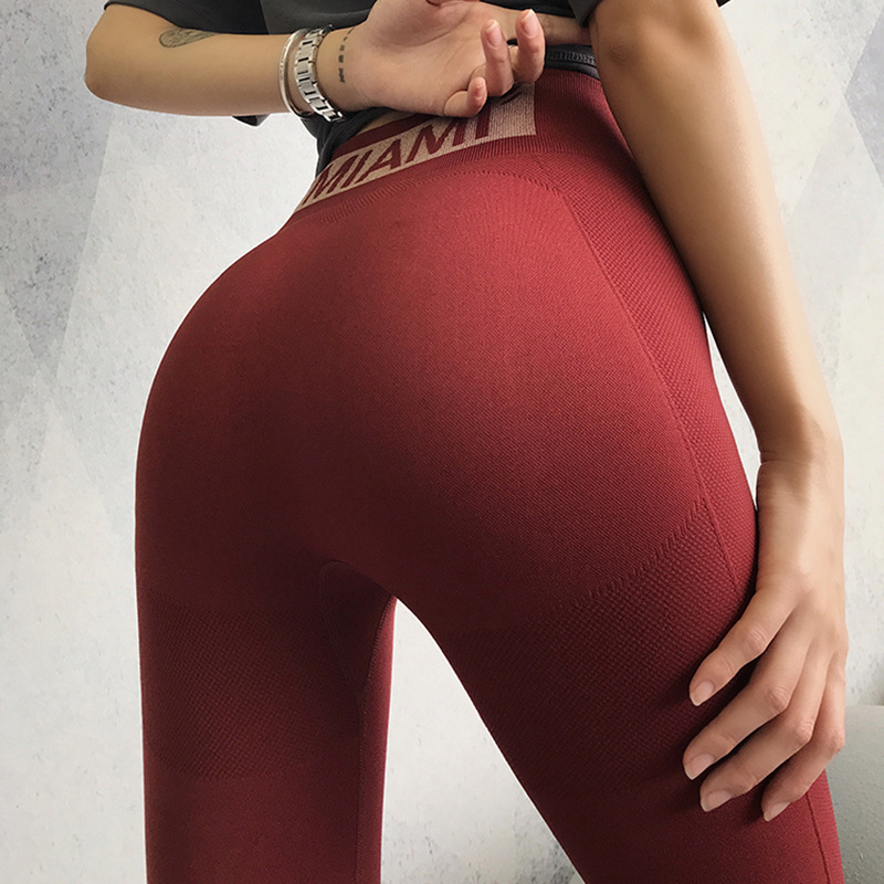 2020 new belly closing peach hip pants fitness pants female letter tight and thin hip lifting pants running sports Yoga Pants