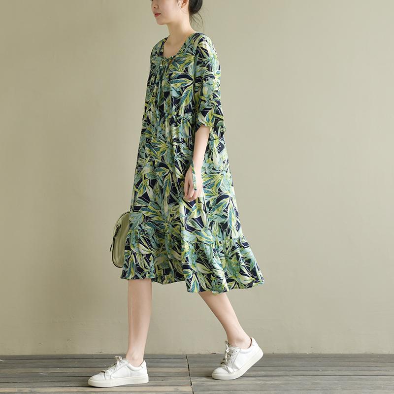天然出品 青幽 ��松文�系�Ф燃亠L印花雪��B衣裙短袖中�L款