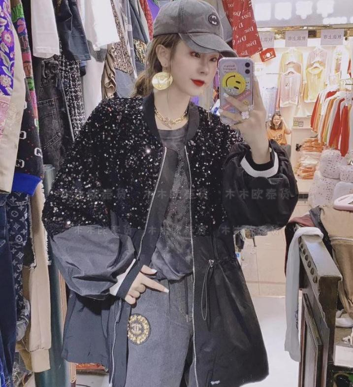 2021 spring heavy industry full Sequin with loose waist middle and short drawstring windbreaker Baseball Jacket Womens jacket