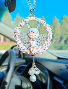 汽车挂件女创意车内装饰汽车翅膀挂件镶水钻守护天使汽车挂件