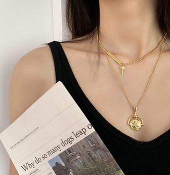 BAO STYLE◆小众设计高级感欧美时尚叠戴十字架 不规则圆牌项链女