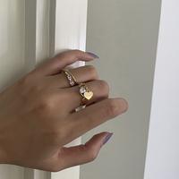 BOONEE◆气质精致设计感爱心镶钻闪亮可调节开口戒指 个性指环女