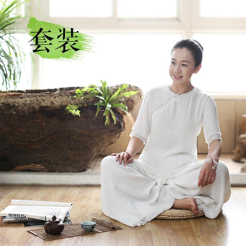 新款国学风女装春季棉麻唐装传统文化中式居士服改良套装秋装