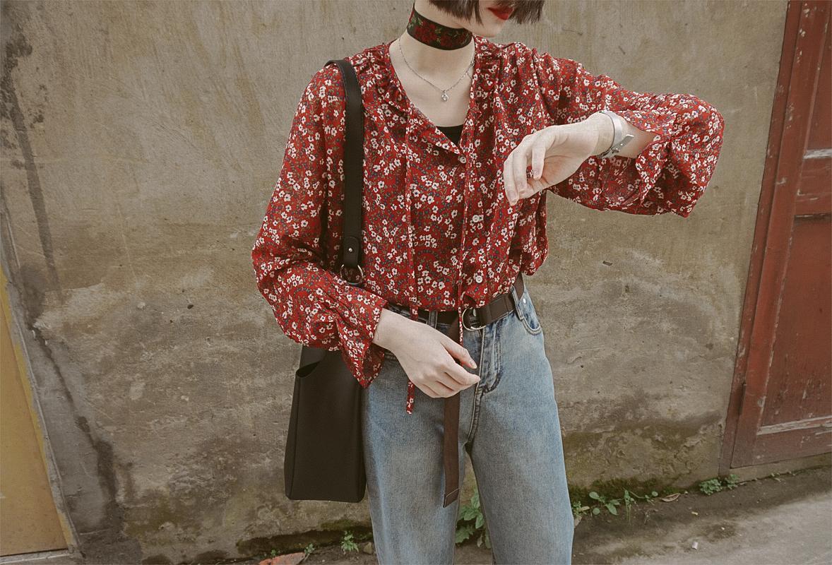 辛德瑞拉工作室|复古系带奶奶风碎花仙气花边防晒雪纺衫韩衬衫夏