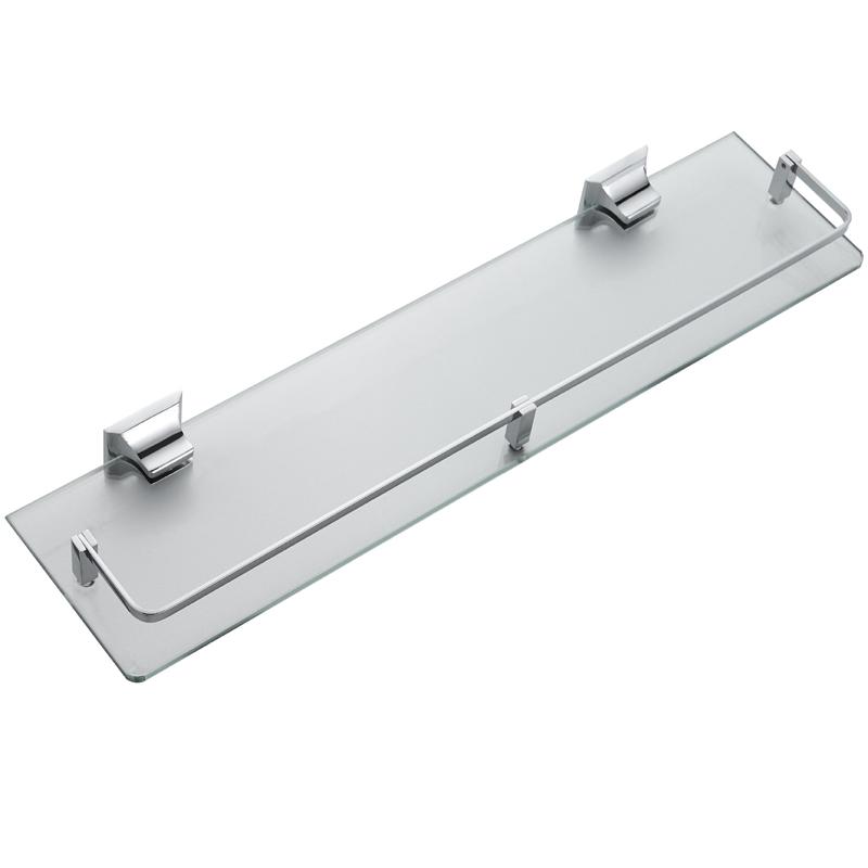 浴室厕所洗手台卫生间钢化玻璃镜前镜下置物架收纳打孔壁挂单层