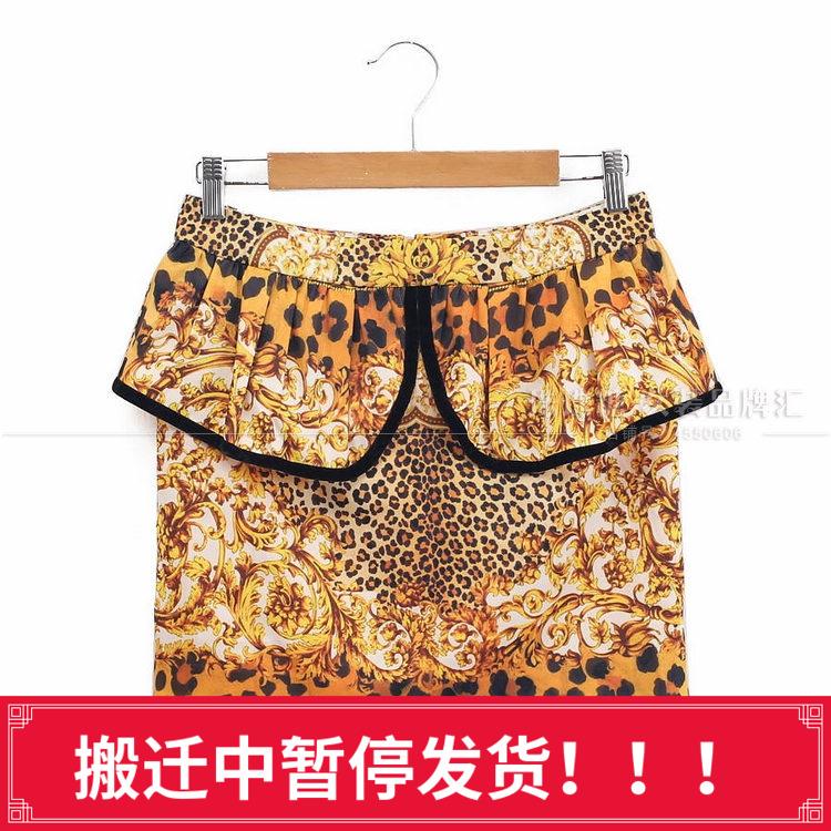 珠珠糖2018春款米可系列华丽豹纹印花荷叶边显瘦包臀半身裙K35144