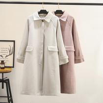 加大码女装冬装新款韩版200斤胖mm高档显瘦加厚长款毛呢大衣外套