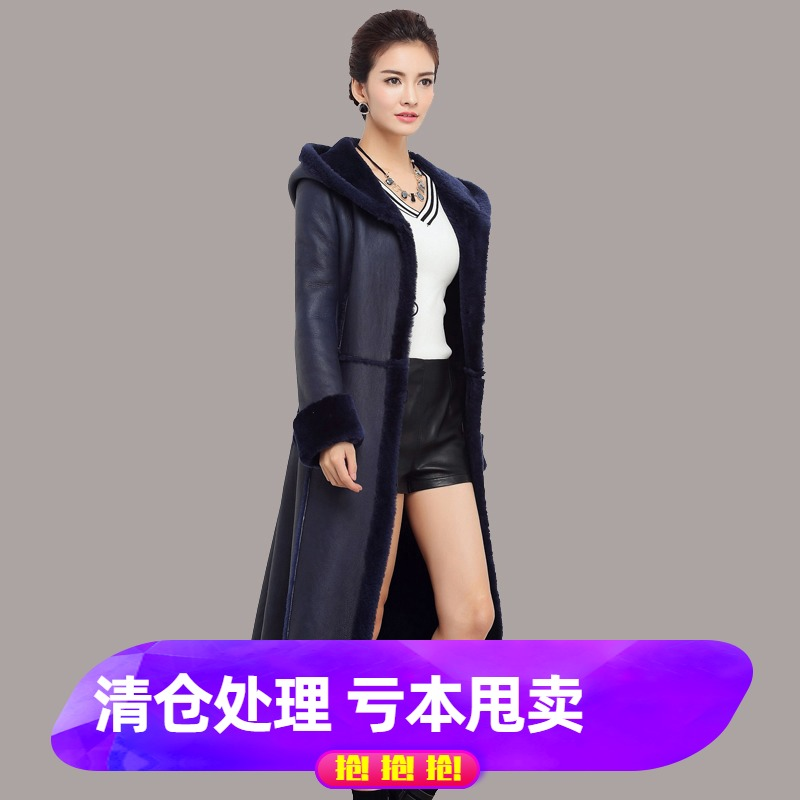 Winter 2019 Merino fur and fur one-piece womens coat Long real leather dress slim lamb fur fur coat with hat
