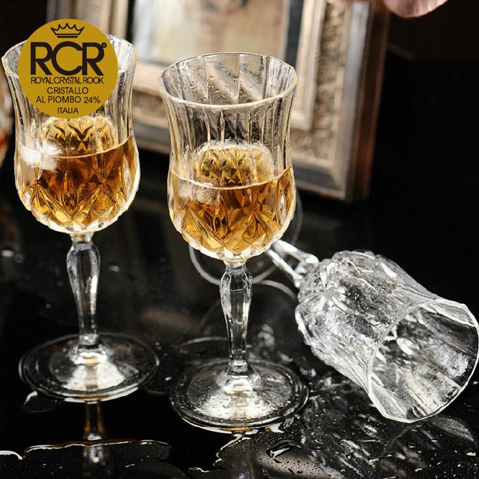 意大利RCR无铅水晶杯进口红酒杯葡萄酒杯家用杯子复古刻花高脚杯11-12新券