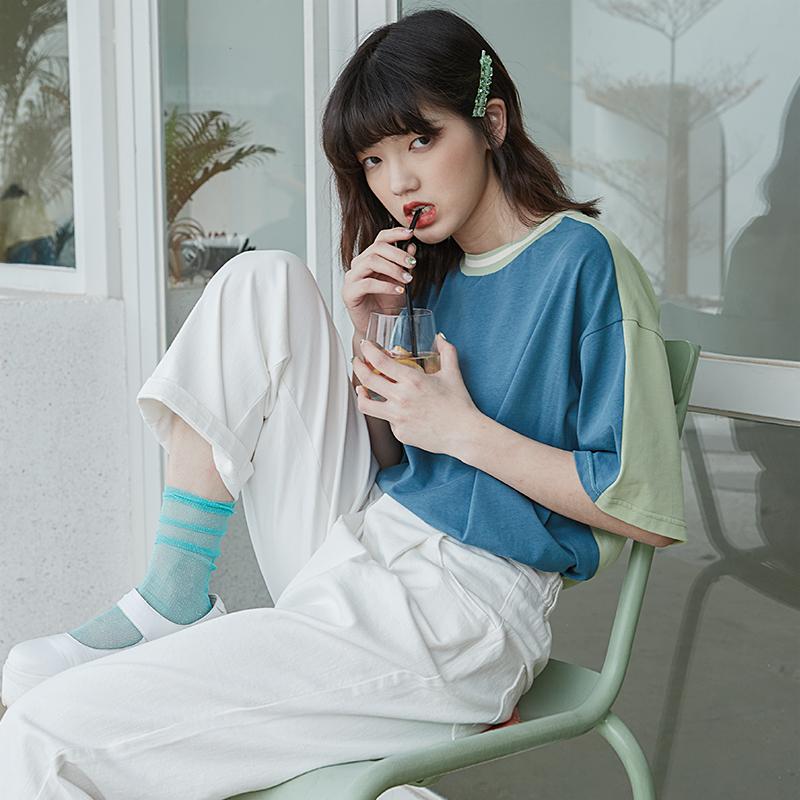 芍药居少女原创马卡龙牛油果绿色宽松短袖女T恤复古2019新款夏12-01新券