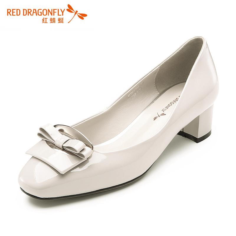 红蜻蜓女鞋春秋新款漆皮亮皮高跟鞋圆头蝴蝶结低跟女单鞋专柜正品
