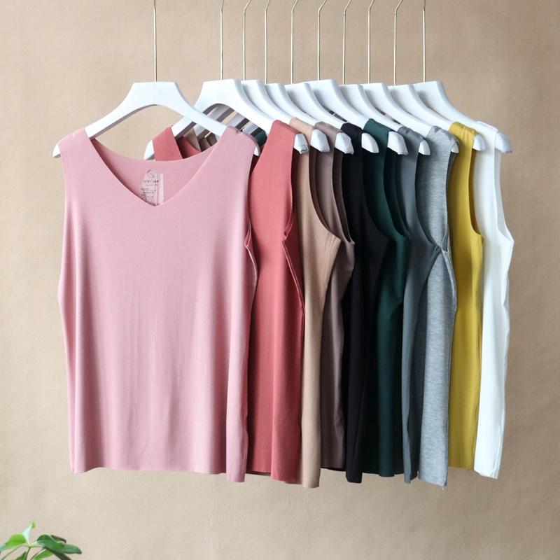 Summer V-neck sleeveless T-shirt tank top womens solid color underlay shirt candy T-shirt SF & yuan large