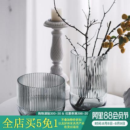 BX透明玻璃花瓶 现代简约时尚插花花器 客厅餐桌家居装饰品摆件