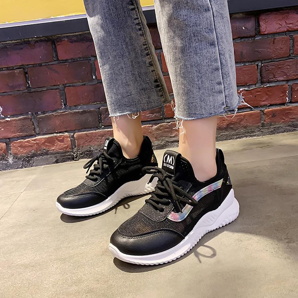女鞋网面透气运动鞋2020春季新款系带小白鞋女士老爹鞋休闲运动鞋