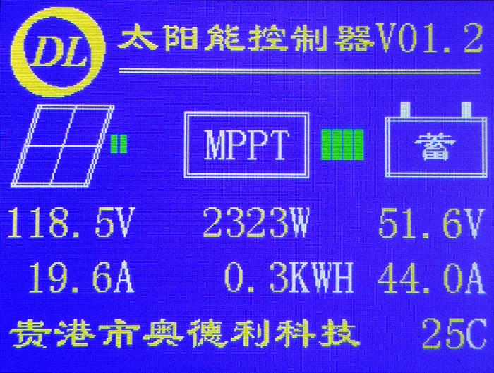 MPPT太阳能控制器 光伏充电器12V24V48V96V 锂电/蓄电池V01.2B版