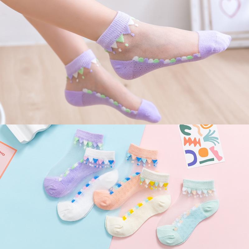 儿童玻璃透明水晶丝袜短袜船袜子女童夏季薄纯棉底透气冰丝袜公主