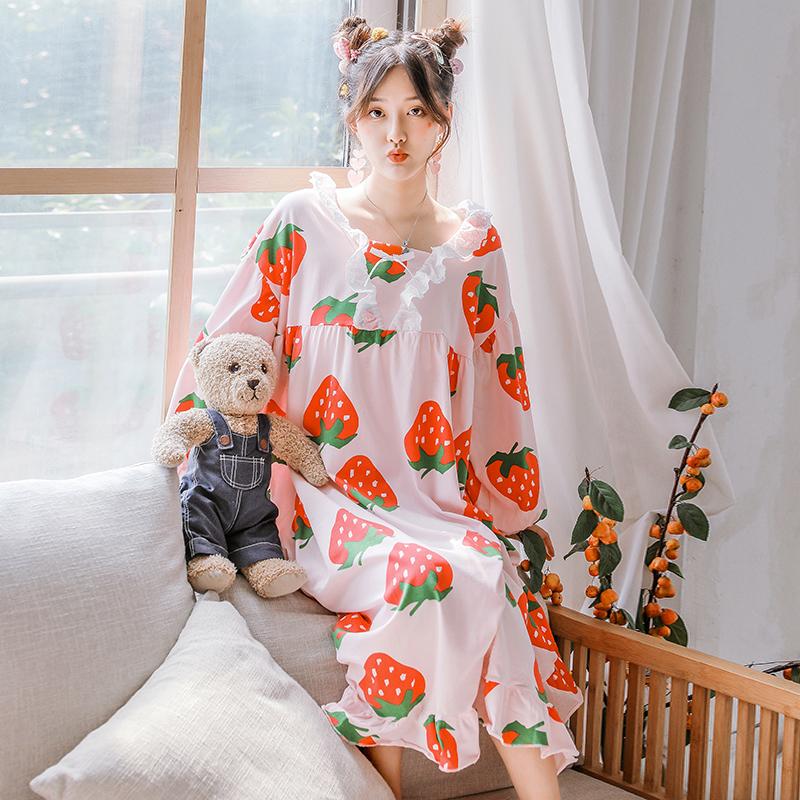 券后79.00元日系小清新草莓宽松睡裙可爱甜美少女ins纯棉睡衣女夏秋季家居服
