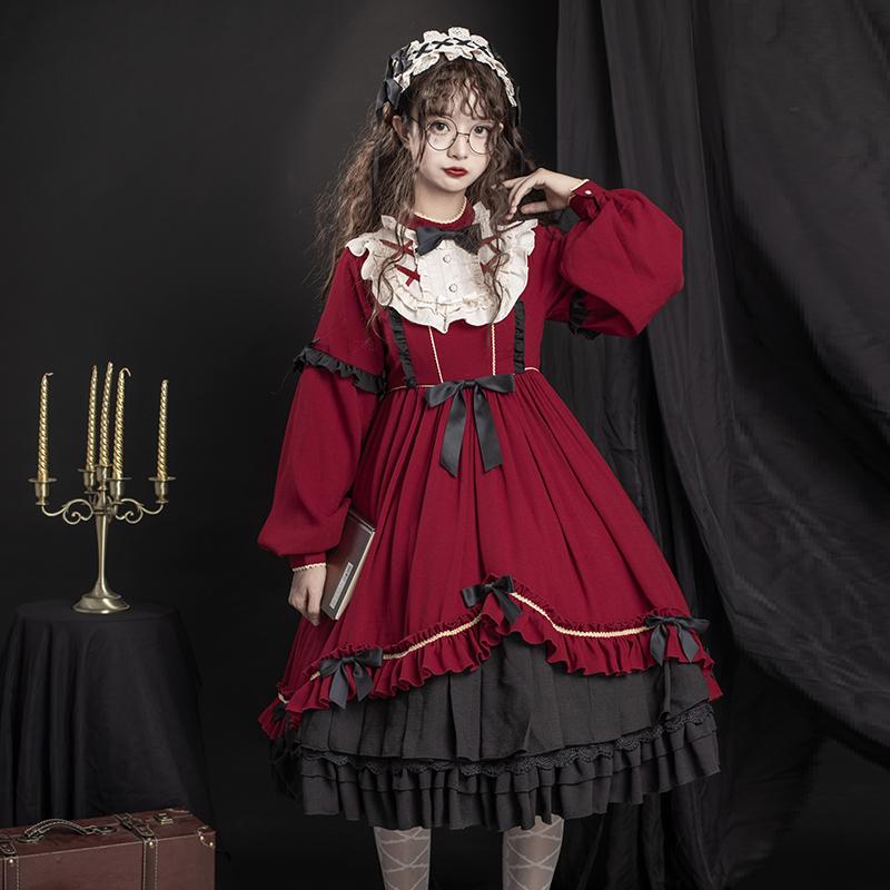 原创设计夜之乐章洛丽塔复古学院风日系甜美少女lolita长袖连衣裙