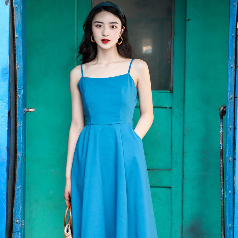 JUJU定制复古赫本风吊带连衣裙蓝色裙子一字领显白大摆吊带裙女夏
