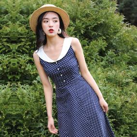 juju定制夏季法式收腰无袖连衣裙
