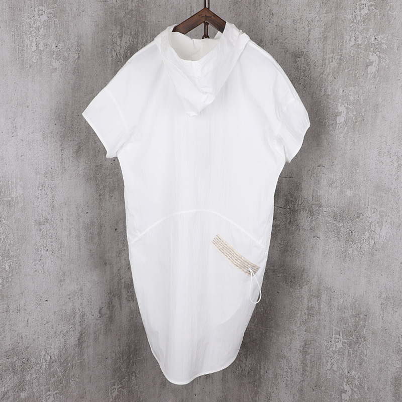 圆摆不对称连帽阔型潮男式中长款短袖风衣设计师品牌春夏新款