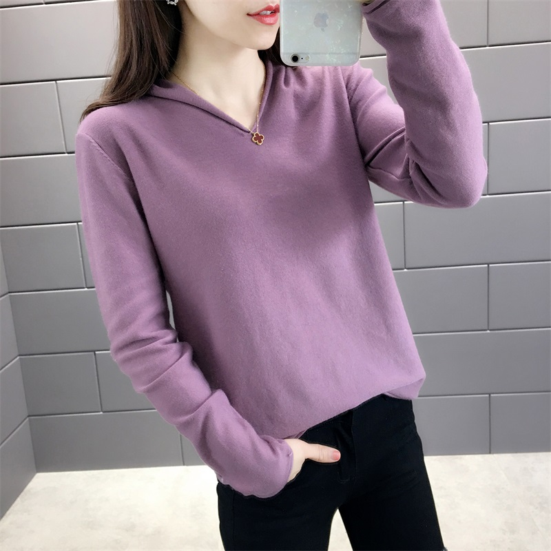 Autumn and winter 2020 new long sleeve half Hat Womens Cashmere Sweater Hoodie loose bottomed sweater big sweater trend