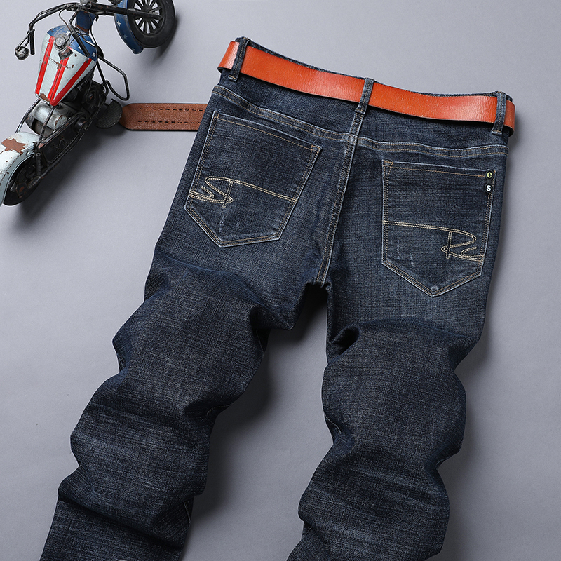 Mens jeans autumn winter middle waist straight tube thick pants 908