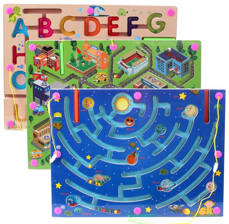 1-3歲早教玩具磁性運筆迷宮走珠幼兒園桌面游戲 磁力交通迷宮走珠