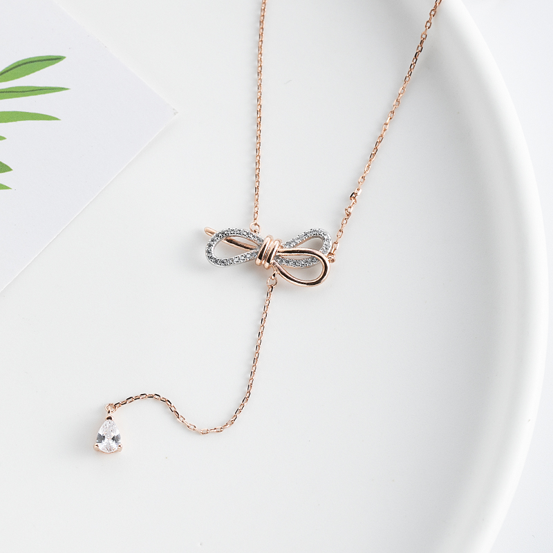 S925 Sterling Silver Bow Tassel Necklace Pendant Jewelry Japanese and Korean minority clavicle chain cross Festival gift