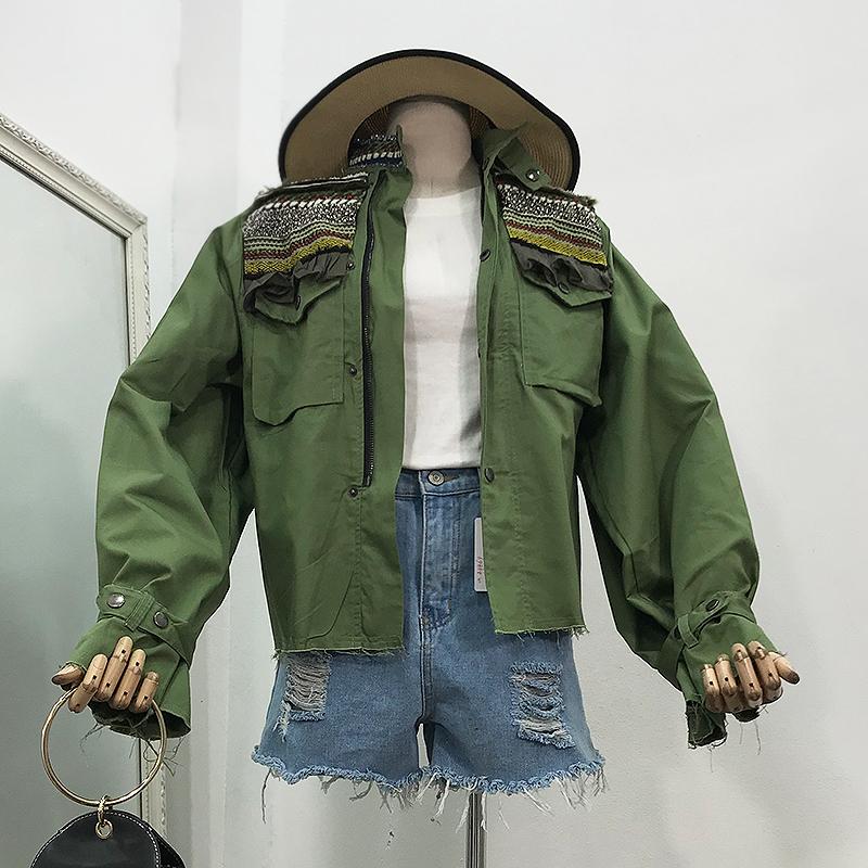 I@03秋款女装新款军绿色时尚上衣拼接条纹泡泡袖工装短外套女
