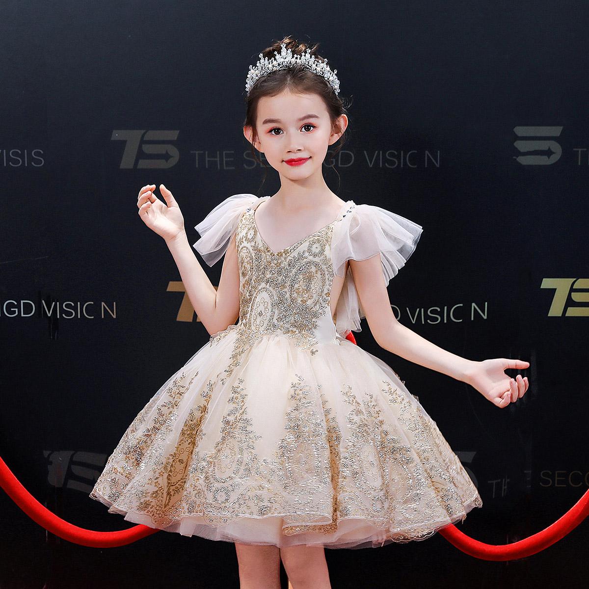 儿童礼服金色亮片舞台演出服女童主持人走秀表演服花童婚纱蓬蓬裙