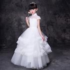 儿童生日礼服公主裙主持人冬季花童婚纱蓬蓬裙女童钢琴演出服长款
