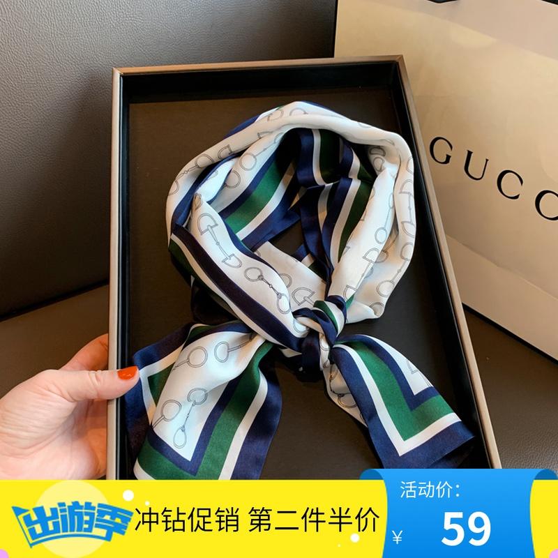 丝绸春季韩版装饰小领巾真丝印花围巾女飘带100%桑蚕丝丝巾小长条